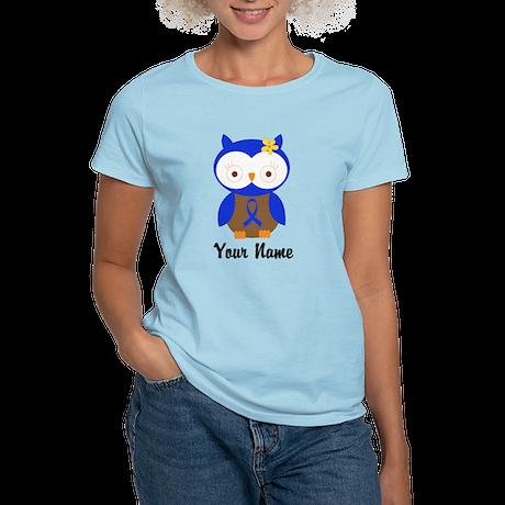 Blue Ribbon Owl Awareness Women's Light T-Shirt