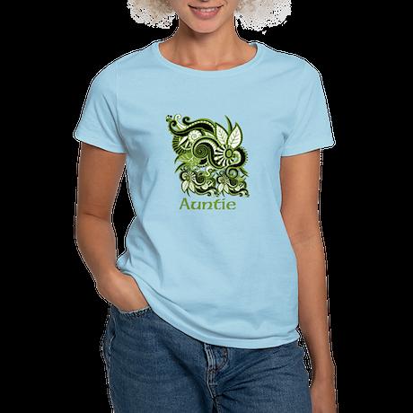 Auntie, Green Swirl Design. Women's Light T-Shirt