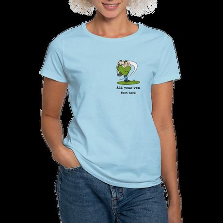Golf Cartoon, Custom Text Women's Light T-Shirt