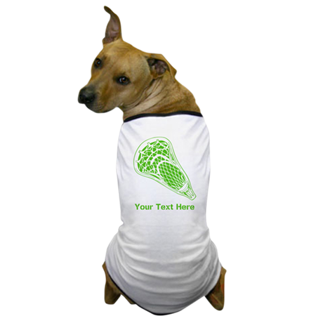 Lacrosse Crosse. Green Text. Dog T-Shirt