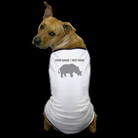 Personalized Grey Rhino Silhouette Dog T-Shirt