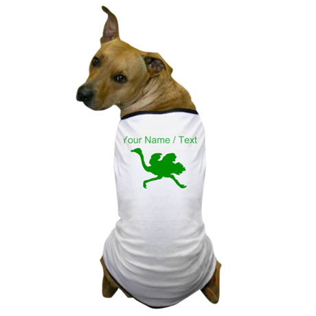 Custom Green Ostrich Silhouette Dog T-Shirt