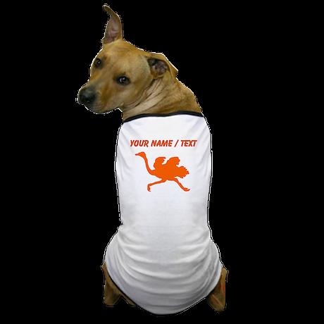 Custom Orange Ostrich Silhouette Dog T-Shirt