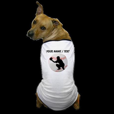Custom Baseball Catcher Silhouette Dog T-Shirt