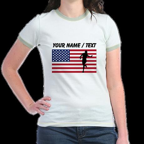 Custom Running American Flag T-Shirt