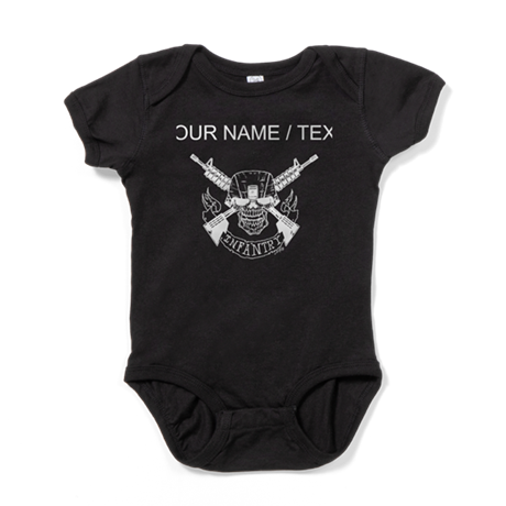 Custom Military Infantry Skull Baby Bodysuit