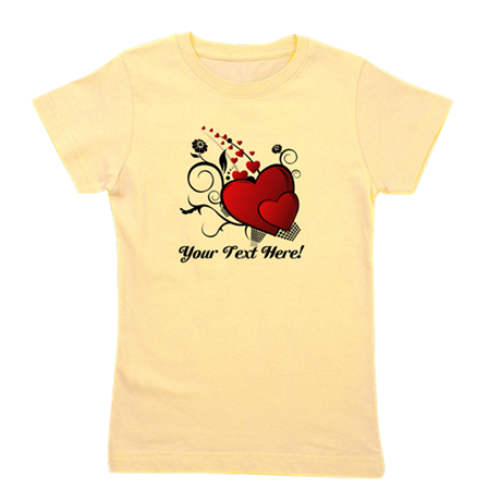 Personalized Text Hearts Girl's Tee