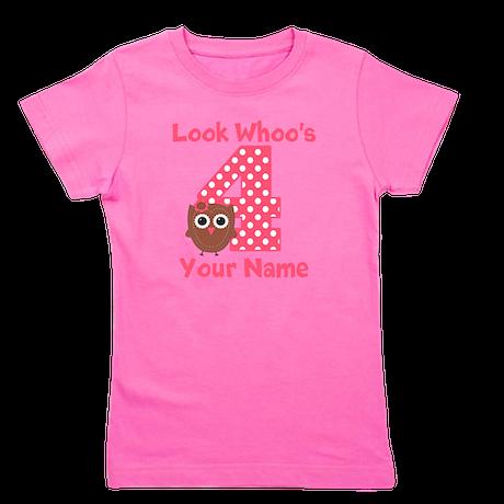 4th Birthday Girl Owl Girl's Tee