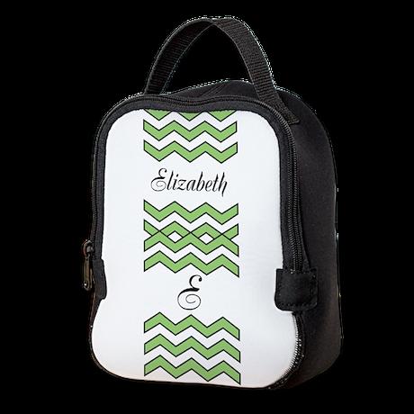 Customize Green Chevron Neoprene Lunch Bag