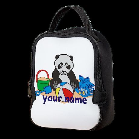 Personalized Beach Panda Neoprene Lunch Bag