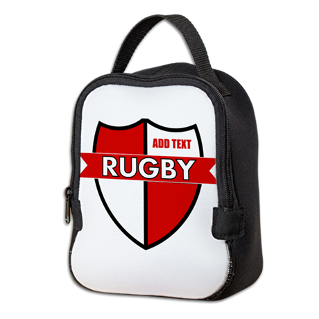 Rugby Shield White Red Neoprene Lunch Bag