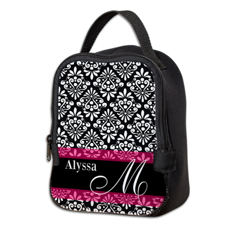 Black Pink Damask Personalized Neoprene Lunch Bag