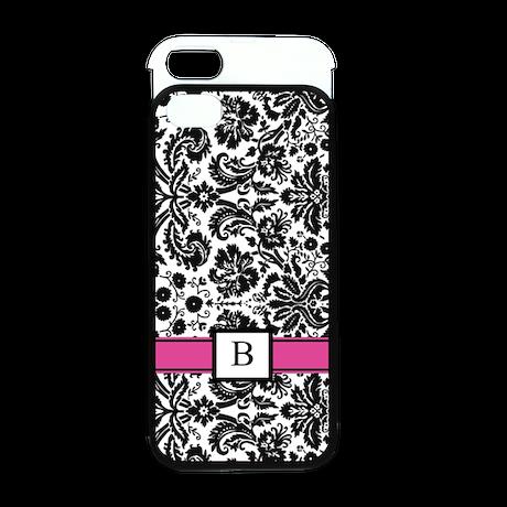 Pink Black Damask Monogram iPhone 5 Wallet Case
