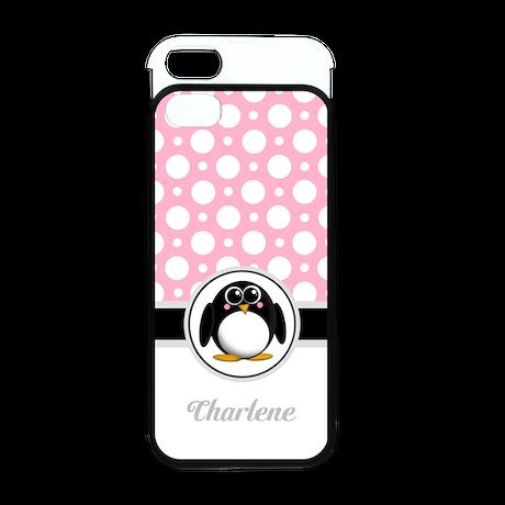 Cute Penguin Pink Polka Dot iPhone 5 Wallet Case