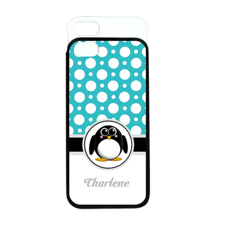 Cute Penguin Teal Polka Dot iPhone 5 Wallet Case