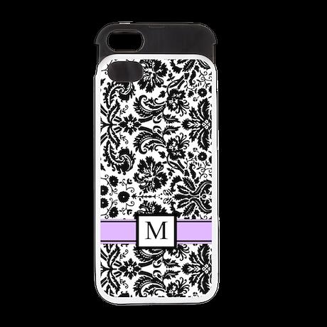 Purple Black Monogram Damask iPhone 5 Wallet Case