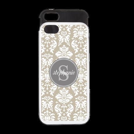Taupe White Damask Monogram iPhone 5 Wallet Case