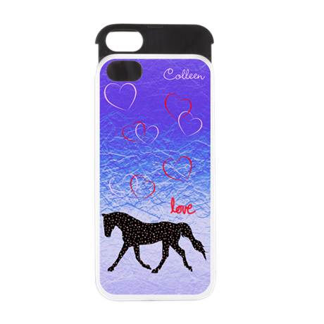 Horse, Love and Hearts iPhone 5 Wallet Case