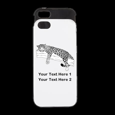 Leopard. Custom Text. iPhone 5 Wallet Case