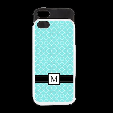 Aqua Black Quatrefoil Monogram iPhone 5 Wallet