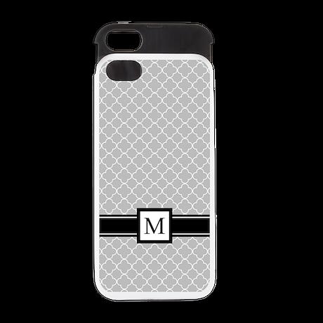 Grey Quatrefoil Monogram iPhone 5 Wallet Case