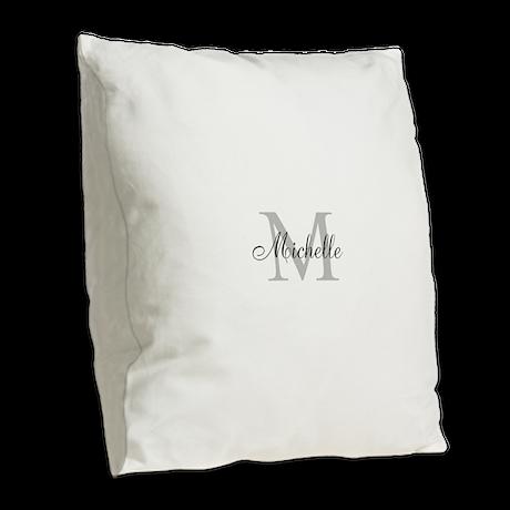 Personalized Monogram Name Burlap Throw Pillow by hqart