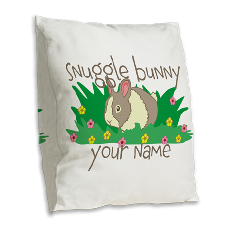 Personalized Snuggle Bunny Burlap Throw Pillow