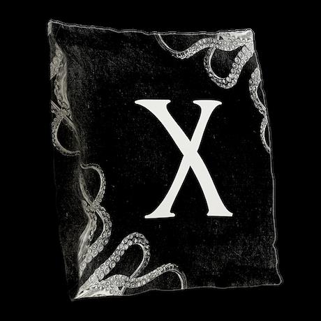 Gothic Tentacle MONOGRAM Burlap Throw Pillow