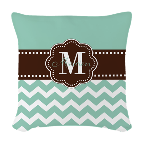Mint Green And Brown Throw Pillows : Brown Mint Green Chevron Personalized Woven Throw by CupcakesandSprinklesBirthdayTees