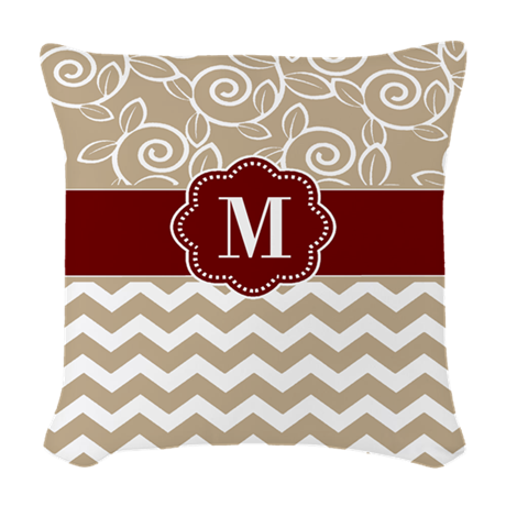 Red And Beige Throw Pillows : Beige Red Chevron Monogram Woven Throw Pillow by CupcakesandSprinklesBirthdayTees
