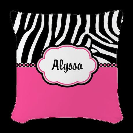 Pink Zebra Print Decorative Pillows : Zebra Print Pink Personalized Woven Throw Pillow by CupcakesandSprinklesBirthdayTees