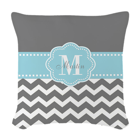 Woven Blue Throw Pillow : Gray Blue Chevron Personalized Woven Throw Pillow by CupcakesandSprinklesBirthdayTees