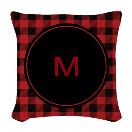 Black Plaid Throw Pillows : Red Black Plaid Monogram Woven Throw Pillow by organicpixels