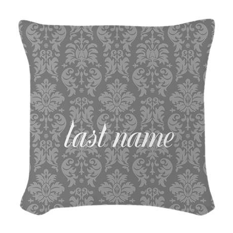 Gray Damask Pattern Woven Throw Pillow