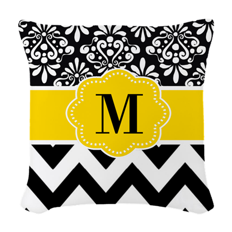 Black Yellow Damask Chevron Monogram Woven Throw P