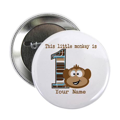 1st birthday monkey personalized button by familyemporium. Black Bedroom Furniture Sets. Home Design Ideas