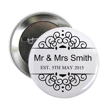 custom couples name and wedding date button by admin cp49789583. Black Bedroom Furniture Sets. Home Design Ideas
