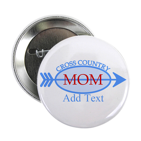 """Cross Country Mom Blue Text 2.25"""" Button"""