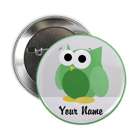 "Funny Cute Green Owl 2.25"" Button"