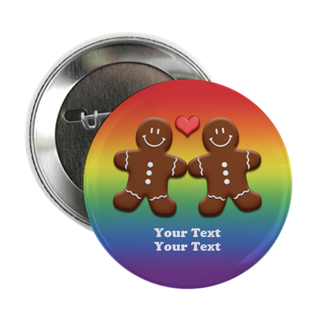 "Personalize Gingerbread Men Couple Rainbow 2.25"" B"