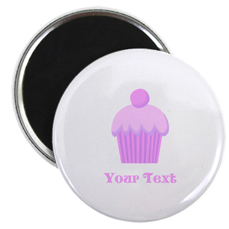 Pink Cupcake with Custom Text Magnet