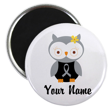 Personalized Gray Ribbon Owl Magnet