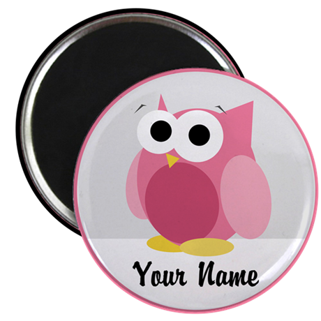 Funny Cute Pink Owl Magnet