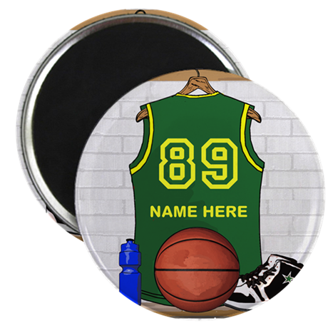 Personalized Basketball Green Magnet