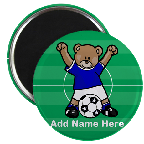 Personalized name soccer bear blue Magnet