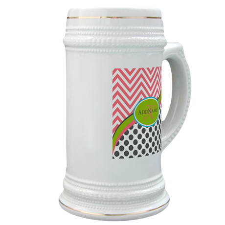Coral Grey Lime Chevron Dots Monogram Stein