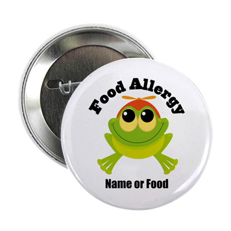 """Personalized Food Allergy Frog 2.25"""" Button (10 pa"""