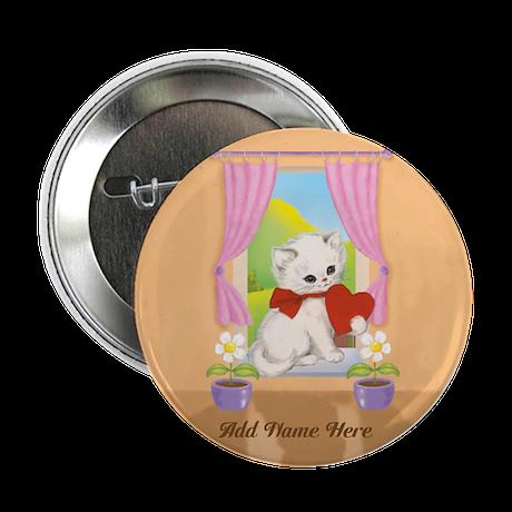 """Personalized Cute Love Heart Kitten 2.25"""" Button ("""