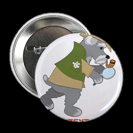 "Schnauzer Detective 2.25"" Button (10 pack)"