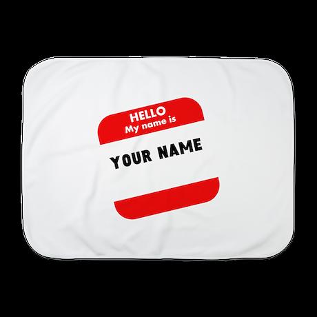 Custom Red Name Tag Baby Blanket
